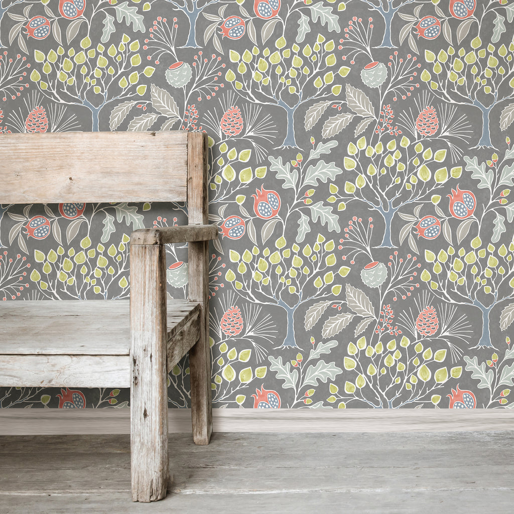 Groovy Garden Gray Peel and Stick Wallpaper