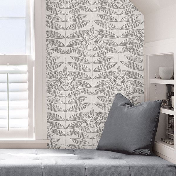Terrain Peel and Stick Gray Botanical Wallpaper
