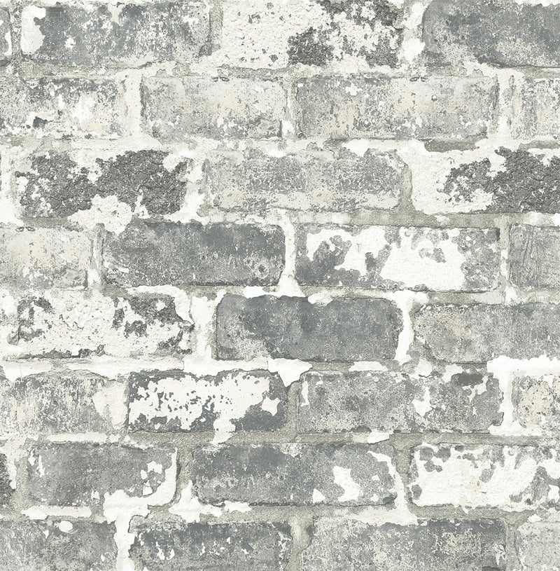 NextWall Peel and Stick Gray Weathered Brick Wallpaper