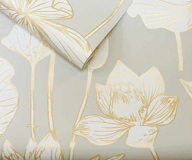 NextWall Peel and Stick Gold Lotus Flower Wallpaper NW33118