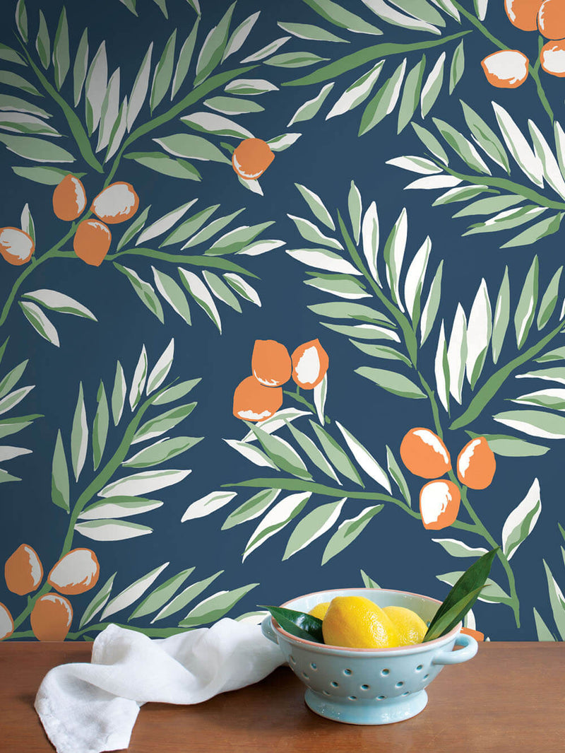 NextWall Peel and Stick Citrus Botanical Floral Wallpaper