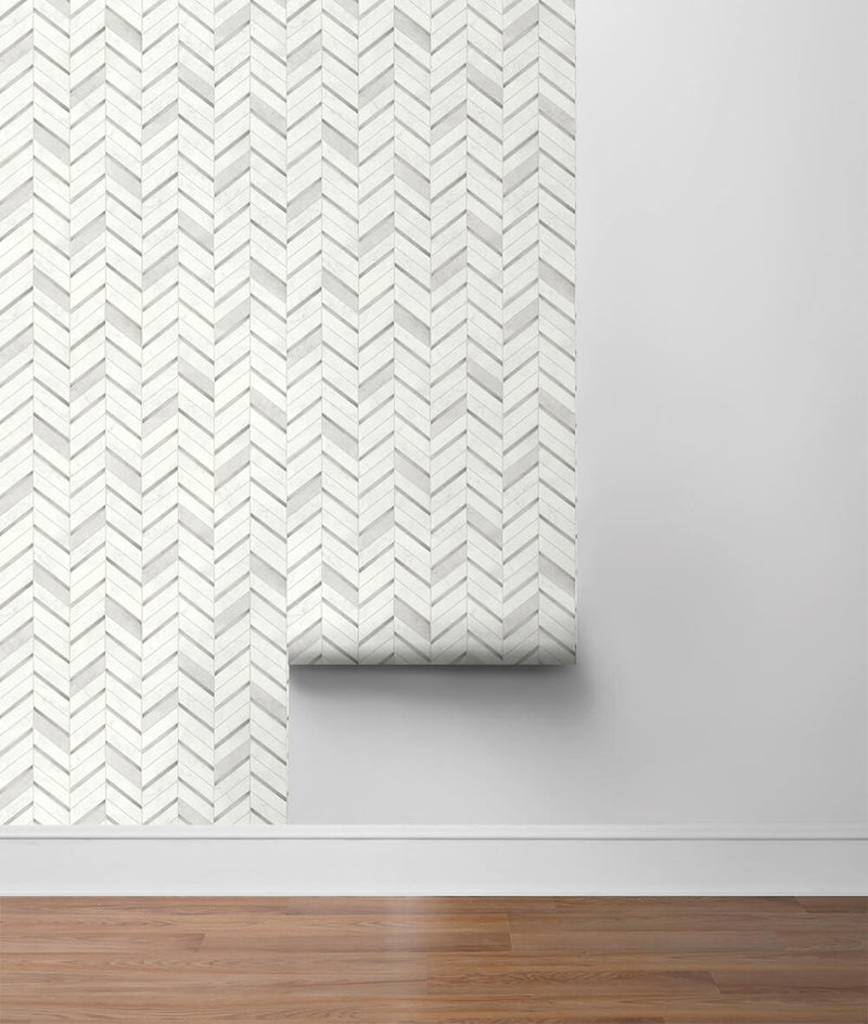 NextWall Peel and Stick Chevron Marble Tile Wallpaper