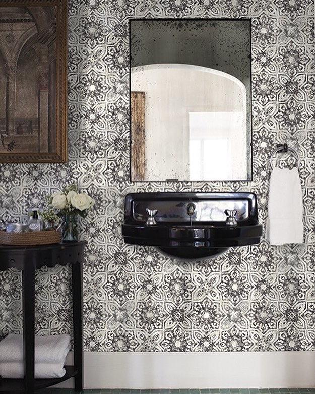 York Patina Vie Vintage Farmhouse Gray Fatima Mosaic Tiles Wallpaper