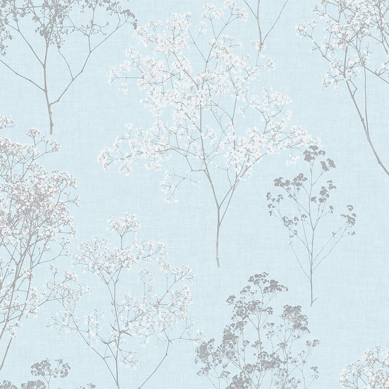 Queen Anne's Soft Blue Lace Floral Wallpaper
