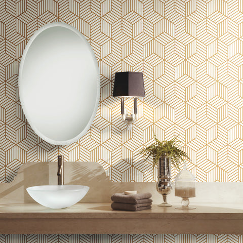 Geometric Gold Hexagon Peel and Stick Mid Century Modern Wallpaper