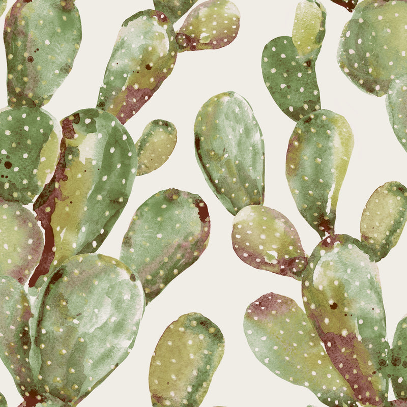 Prickly Pear Green Cactus Peel and Stick Wallpaper
