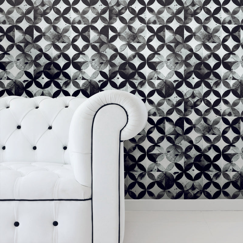 Paul Brent Black Moroccan Tile Peel and Stick Wallpaper