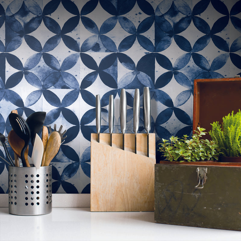 Paul Brent Blue Moroccan Tile Peel and Stick Wallpaper