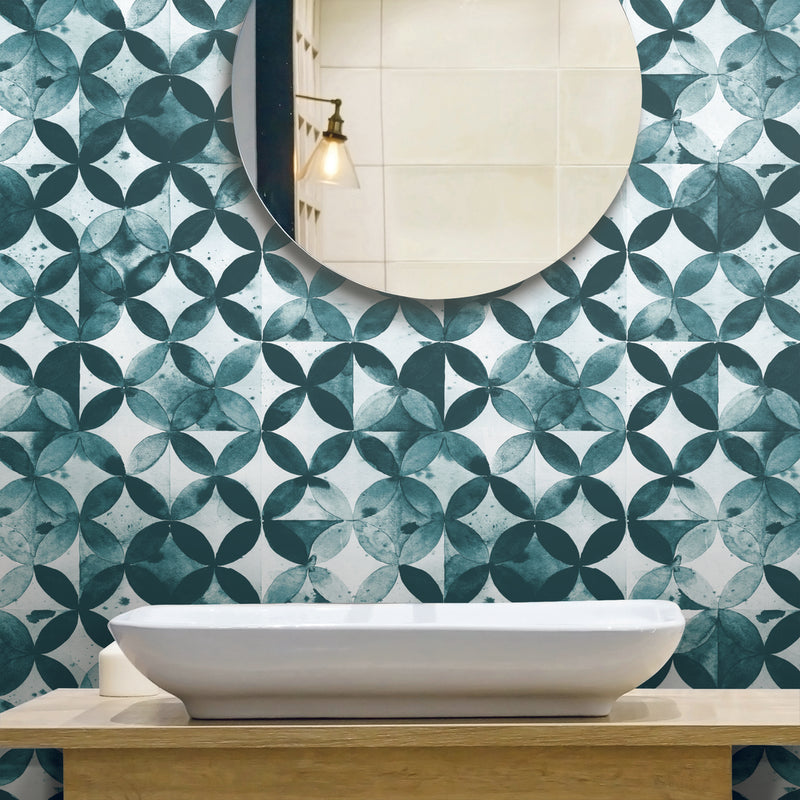 Paul Brent Green Moroccan Tile Peel and Stick Wallpaper