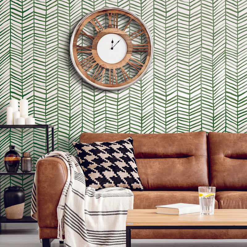 Cat Coquillette Green Herringbone Peel and Stick Wallpaper