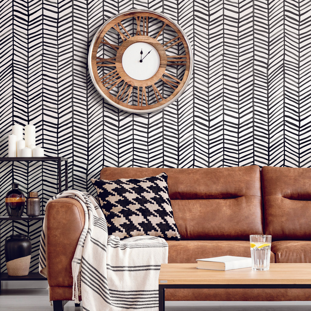 Cat Coquillette Black and White Herringbone Peel and Stick Wallpaper