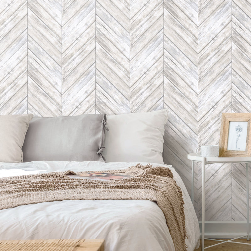 White Chevron Wood Boards Peel and Stick Wallpaper