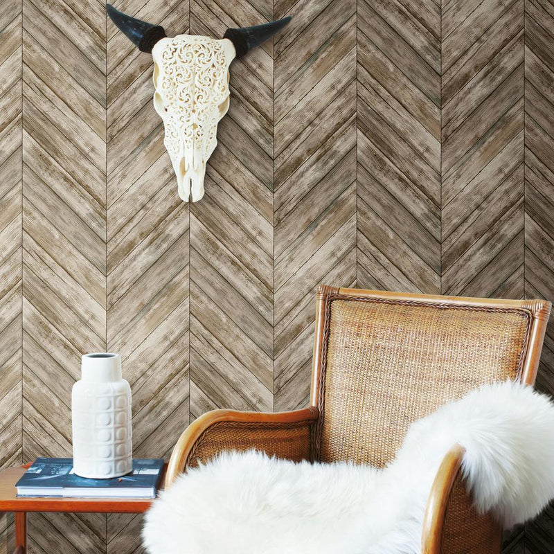 Brown Chevron Wood Boards Peel And Stick Wallpaper