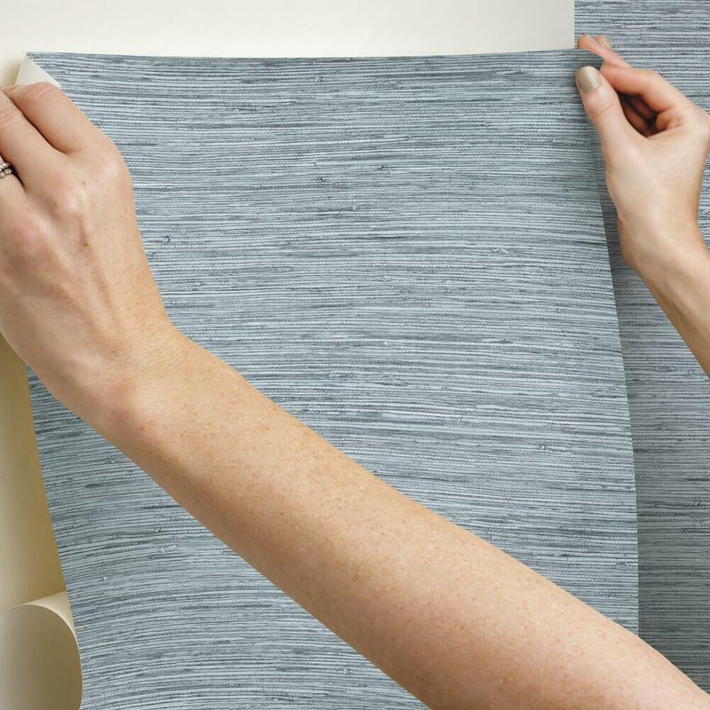 Farmhouse Blue Faux Grasscloth Peel and Stick Wallpaper