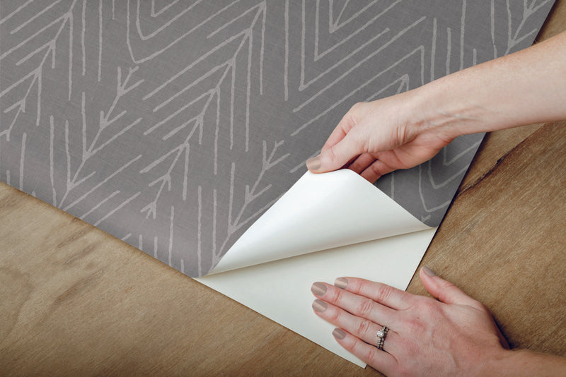 Twig Hygge Herringbone Gray Peel and Stick Wallpaper