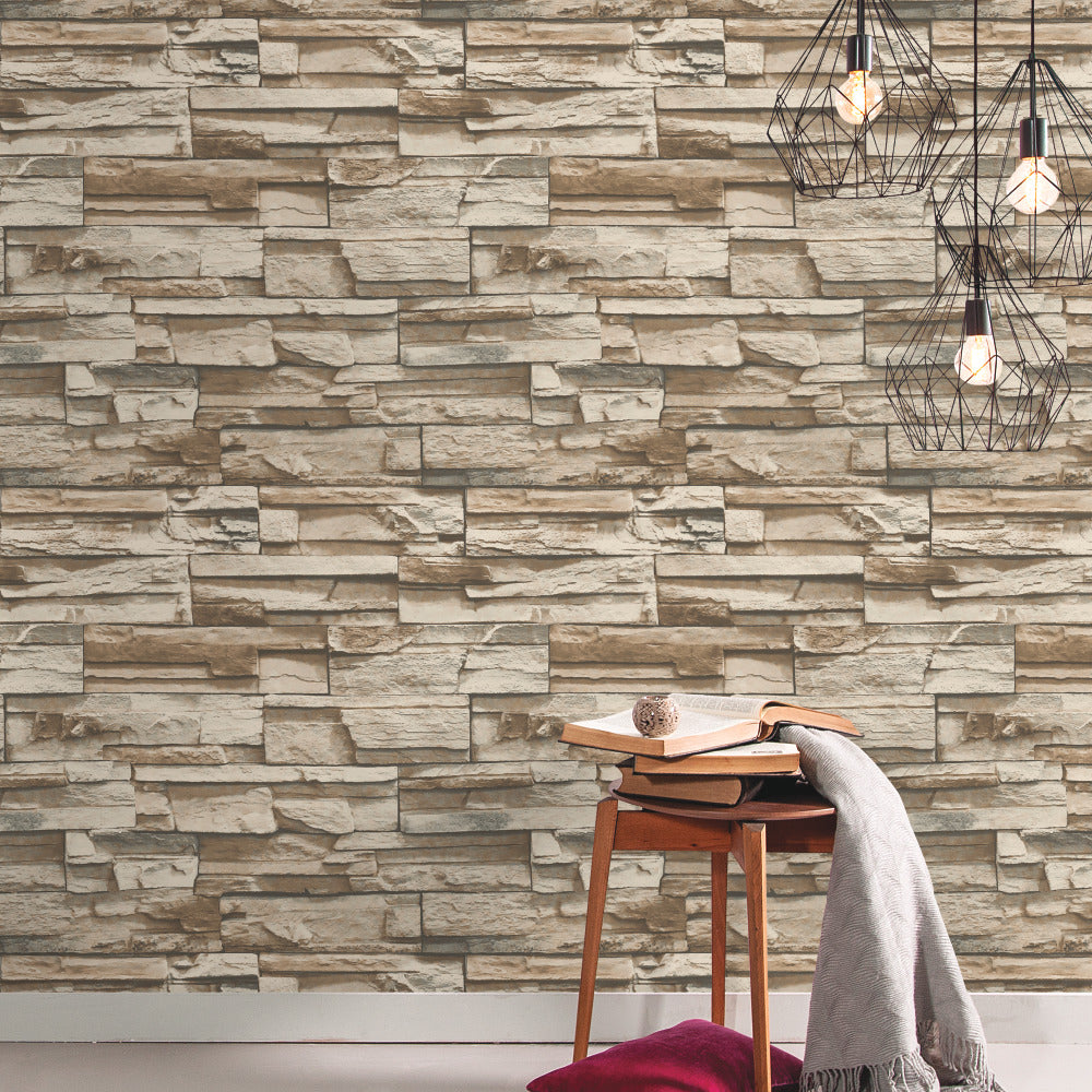 Peel And Stick Textured Wallpaper: Rustic Lodge Stack Stone Brown 3D Peel And Stick Wallpaper