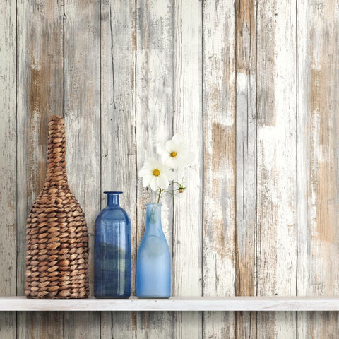 Distressed Barnwood Plank Wood Peel and Stick Wallpaper | RMK9050WP