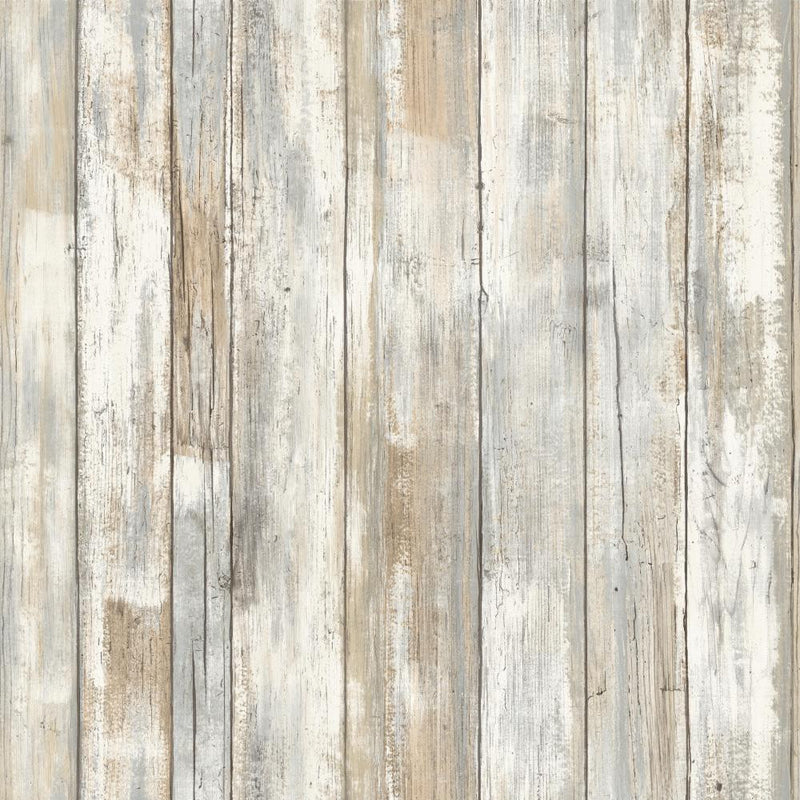Distressed Barnwood Plank Wood Peel and Stick Wallpaper