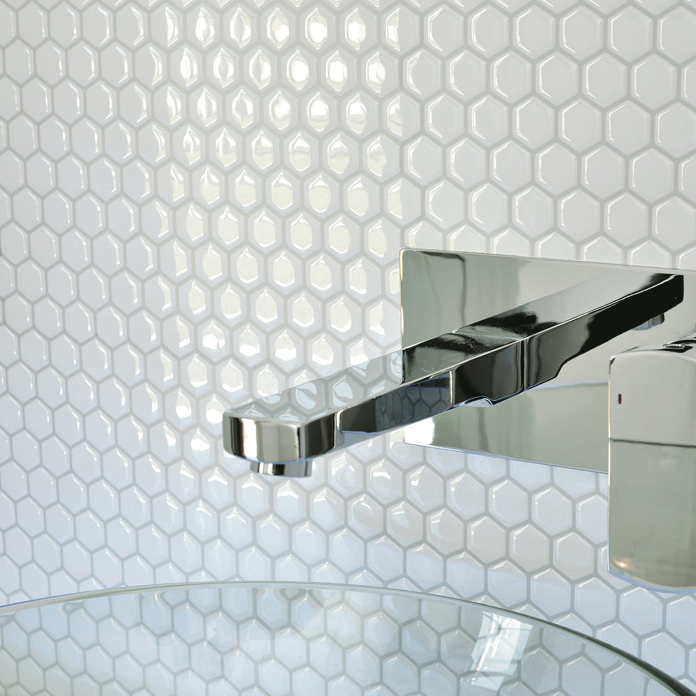 Smart Tiles Contemporary White Hexagon Peel And Stick Tile