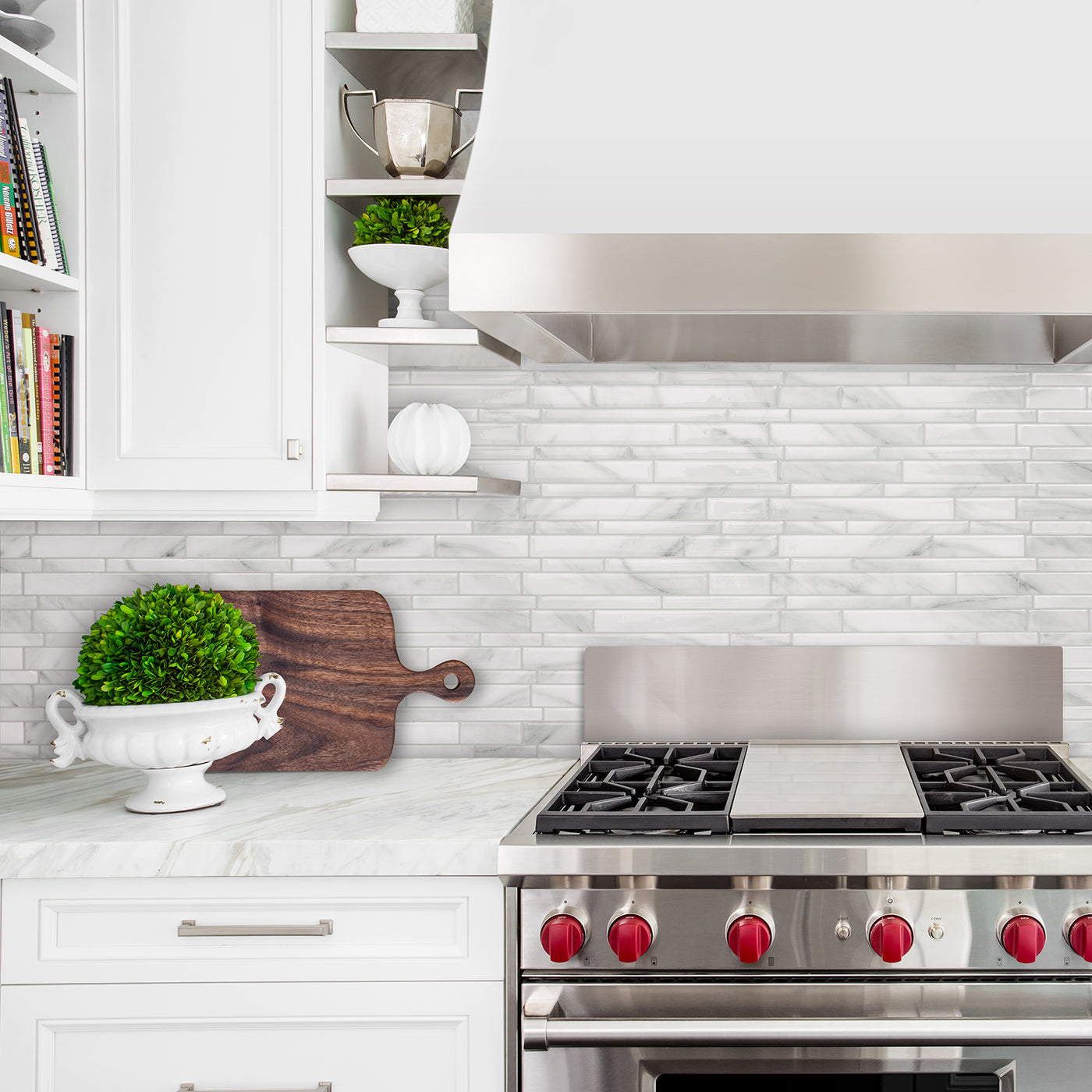 - Smart Tiles Milano Massa Carrara Marble Peel And Stick Backsplash