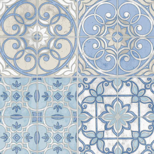 blue mosaic tiles kitchen wallpaper KE29950