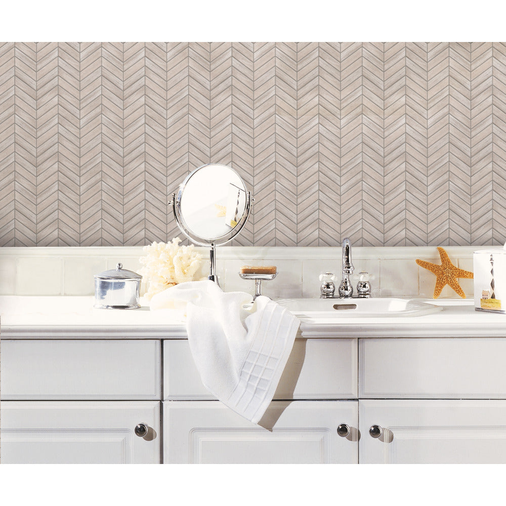 StickTILES Chevron Distressed Wood Peel and Stick Tile