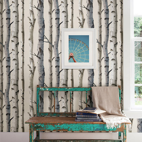 Tuxbury Beige Birch Trees Wallpaper
