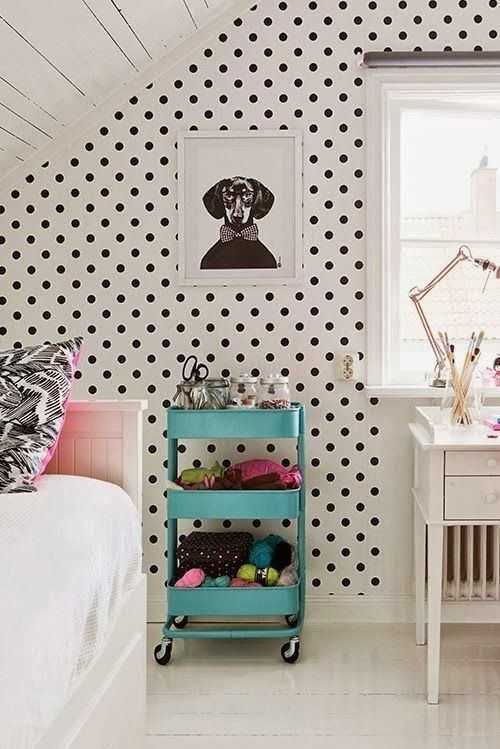 Magnolia Home White and Black Polka Dot Wallpaper
