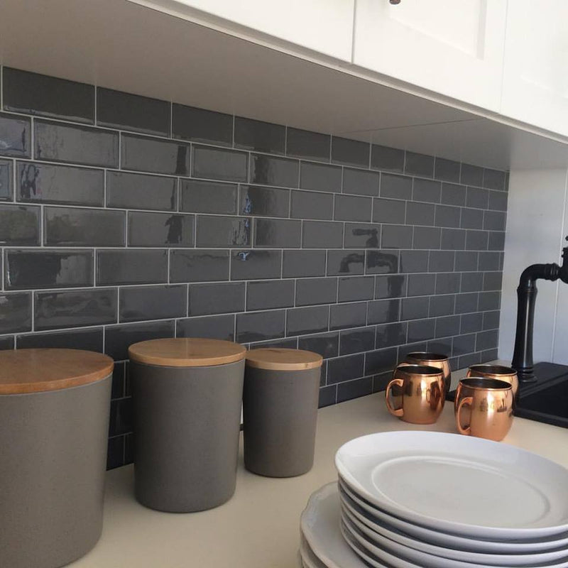 SmartTiles Metro Grigio Gray Subway Peel and Stick Tile