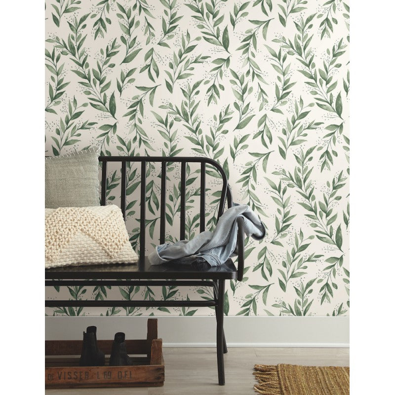 Magnolia Home Green Olive Branch Botanical Wallpaper