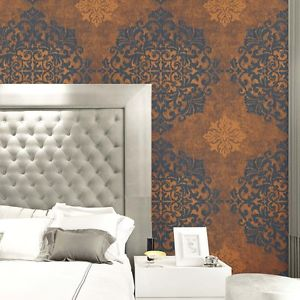 Wallquest Nova Metallic Large Medallion Wallpaper