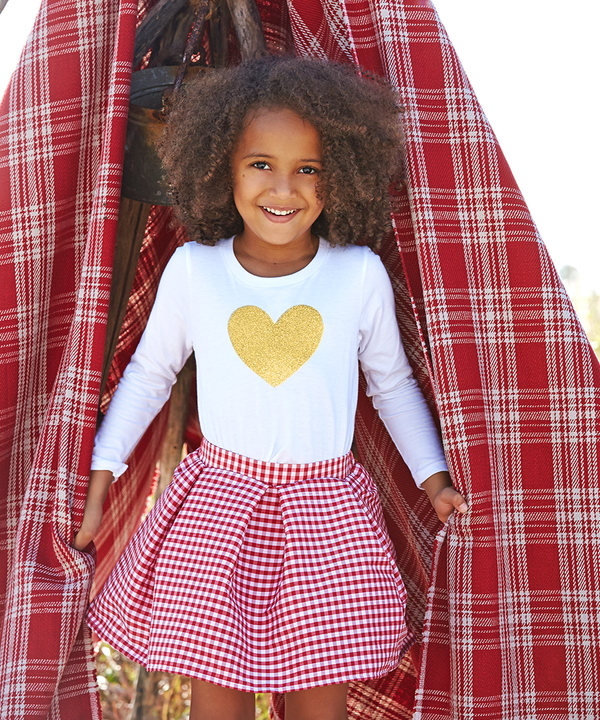 Addy Red and White Check Tafetta Skirt