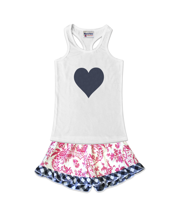 Denim Heart Embellished Jersey Tank Top and Bella Pink Butterfly Toile Ruffle Boxer Short Set