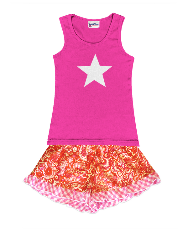 White Sparkle Star Embellished Jersey Tank Top and Bella Orange and Pink Paisley w/ Light Pink Trim Boxer Short Set