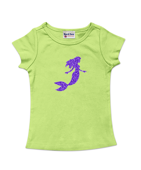 Cap Sleeve Purple Sparkle Mermaid Tee Available in 5 Colors
