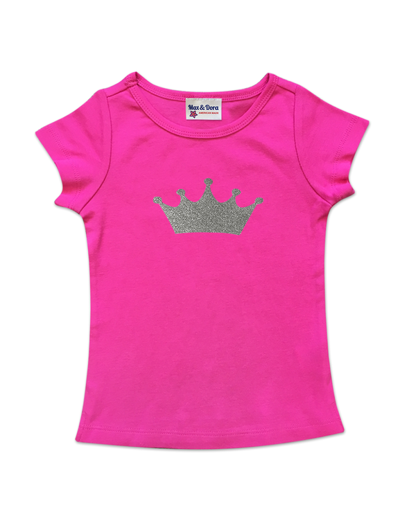 Cap Sleeve Silver Sparkle Crown Tee Available in 5 Colors