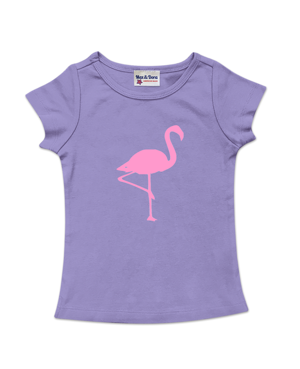 Purple Cap Sleeve Pink Flamingo Tee