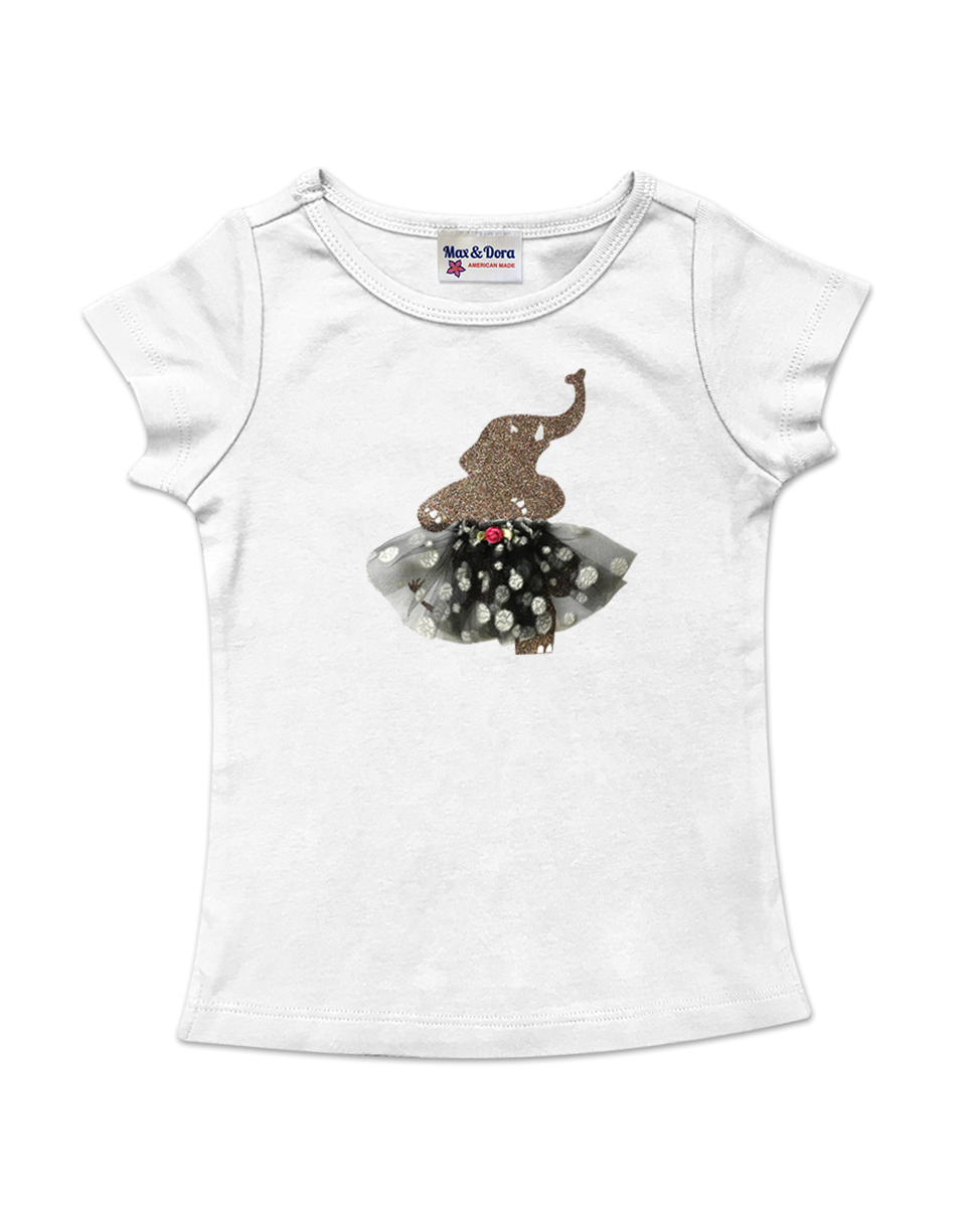 Elephant Ballerina with Tulle Tutu Cap Sleeve Tee Shirt Available in 5 Colors
