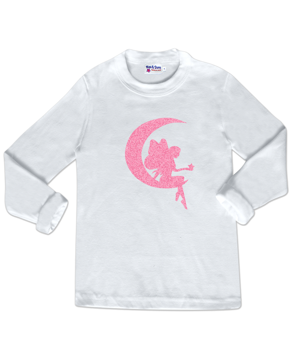 Sparkle Pink Fairy on Moon White Long Sleeve Jersey T-Shirt