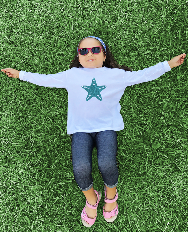Aqua Sparkle Starfish White Long Sleeve Jersey T-Shirt