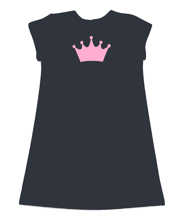 Maggie Black French Terry Dress Pink Crown