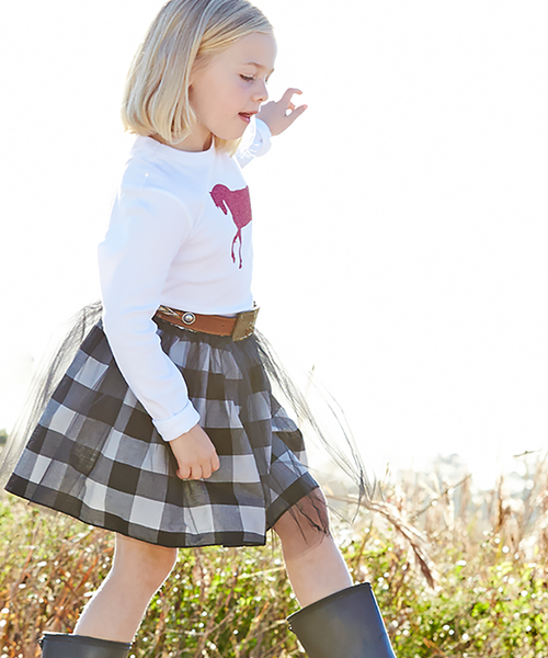 Regan Reversible Black and White Buffalo Check Tutu Skirt