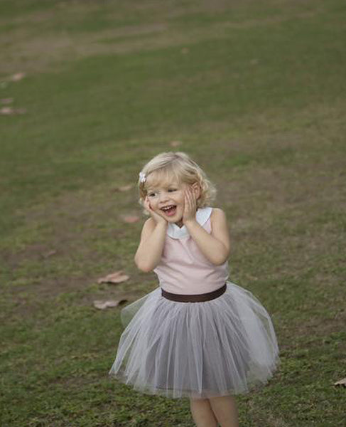 "Regan Pink Tulle with Brown Charmuese ""REVERSIBLE"" Tutu"