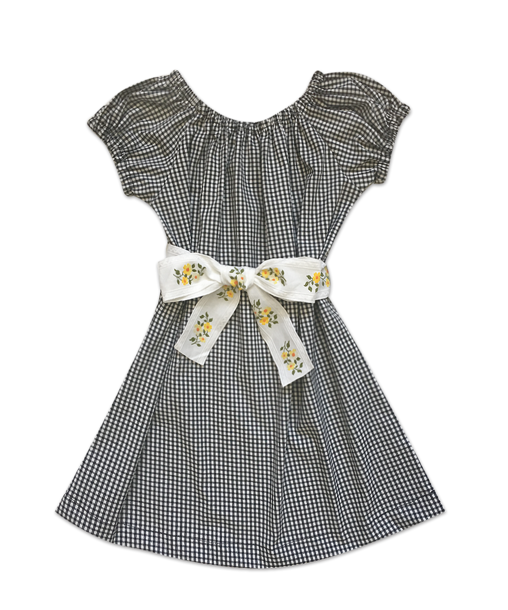 "Stella ""BOHO CHIC"" Dress in Black and White Gingham Check with Vintage Jacquard Ribbon Belt"