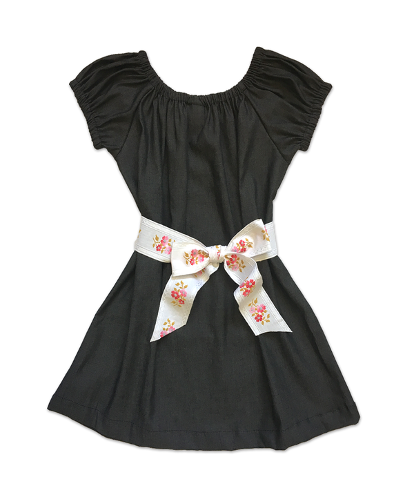"Stella ""BOHO"" Style Dress in Black Denim with Vintage Belt"