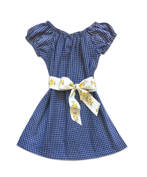 "Stella ""BOHO"" Style Dress in Blue Check with Vintage Belt"