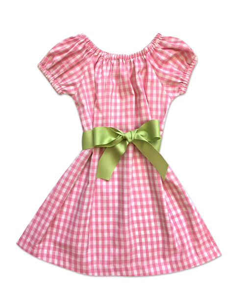 "Stella ""BOHO"" Style Dress in Pink Check with Vintage Belt"
