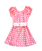 "Stella ""BOHO"" Style Dress in Pink and White Dots with Vintage Belt"