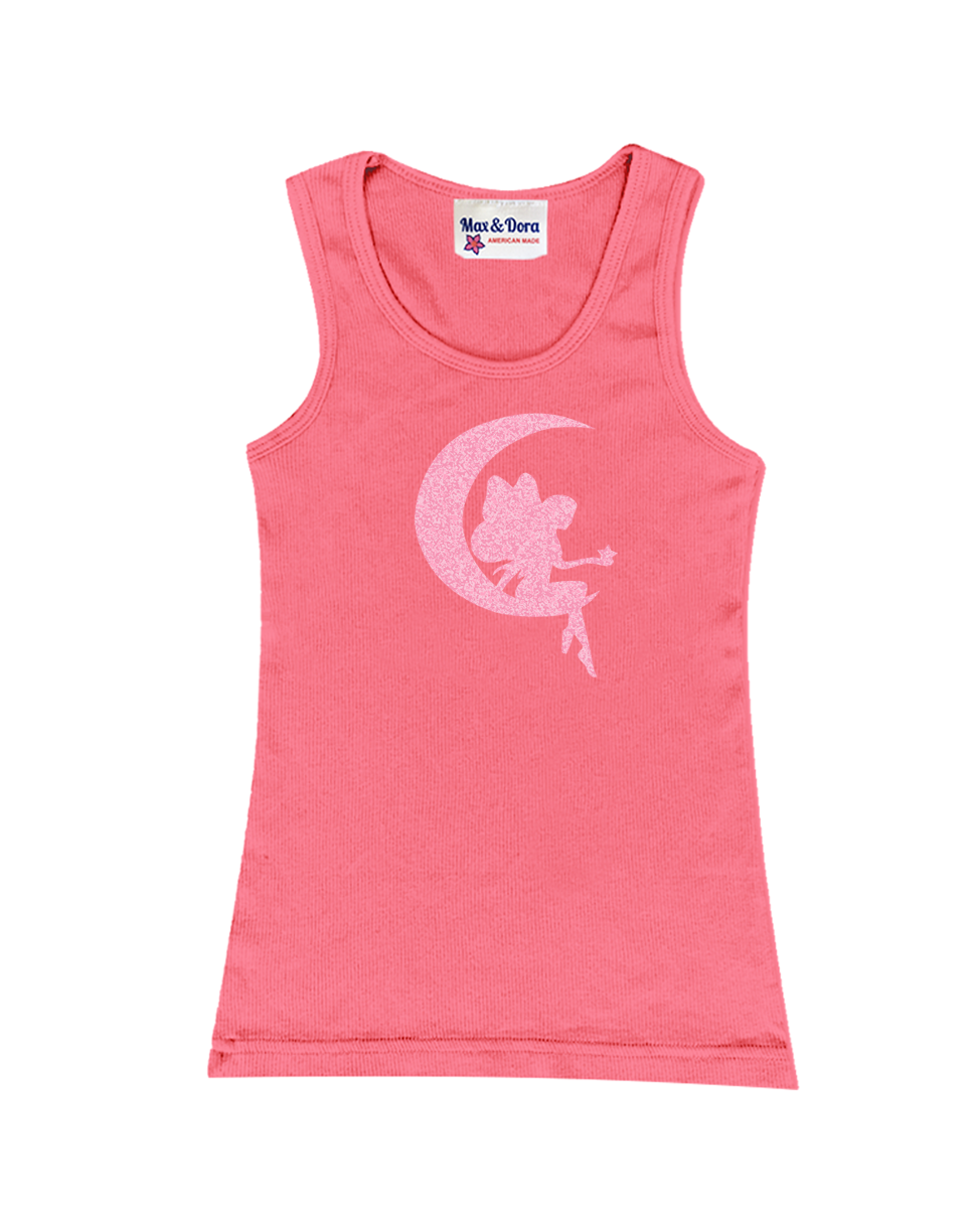 Pink Sparkle Fairy on Moon Tank Top Available in 5 Colors