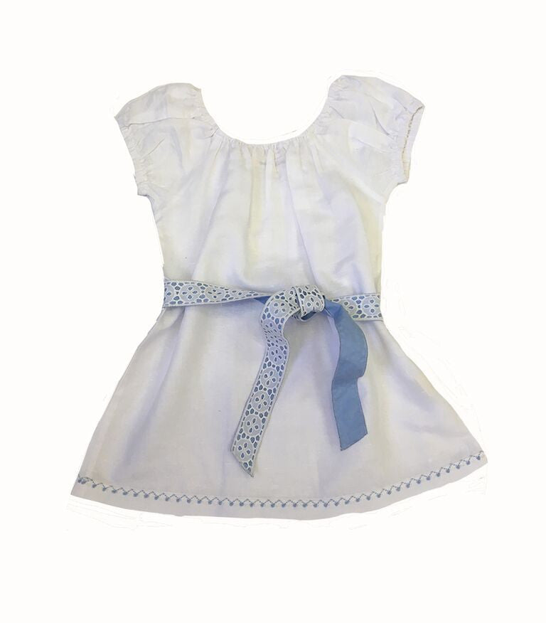 Matilda White Linen Dress with Blue and White Belt